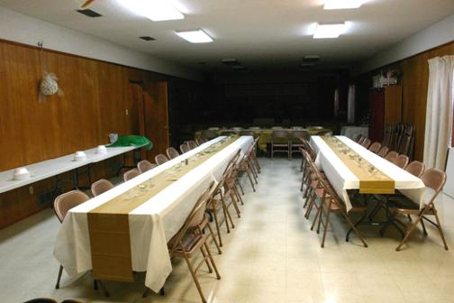 Fellowship Hall decorated for Anniversary Fellowship following Service