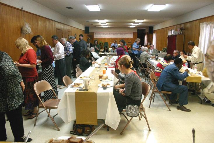 Enjoying the food and fellowship